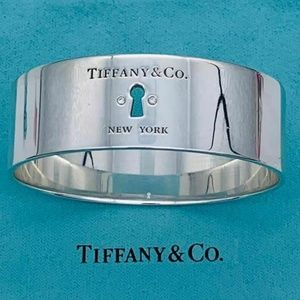 Tiffany & Co. Silver Diamond Keyhole Bangle